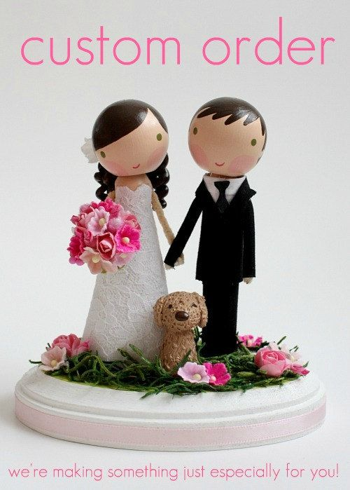 custom wedding cake topper - order for - CACAHUATE. $175.00, via Etsy.