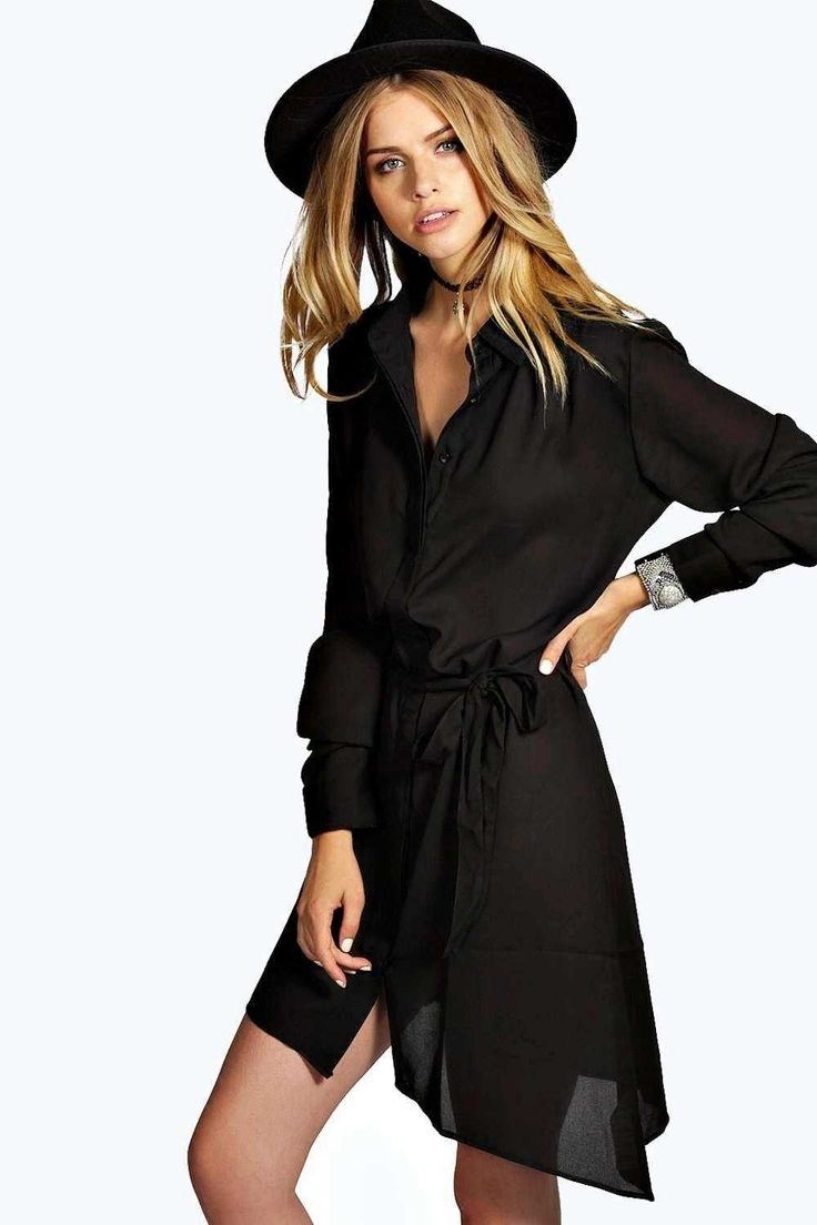 #FashionVault #boohoo #Sale #Women - Check this : boohoo Sasha Collar Tie Shirt Dress - black for $37 USD instead of $28 #OnSale