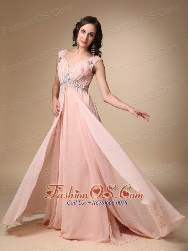 Baby Pink Empire Straps Court Train Chiffon Beading Prom / Evening Dress- http://www.fashionos.com  The gorgegous prom dress features a sweetheart neckline with two ruched shoulder straps decorated by shimmering beadwork. More of the same ruching and beading appear on the bodice make it super stunning. The empire skirt and the big open back will draw all the attention for you. A sure eyecatcher.