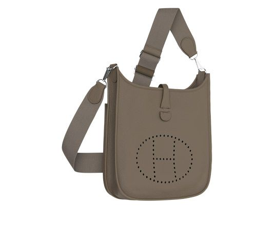 Evelyne III Hermes shoulder bag in gray taurillon clemence leather ...