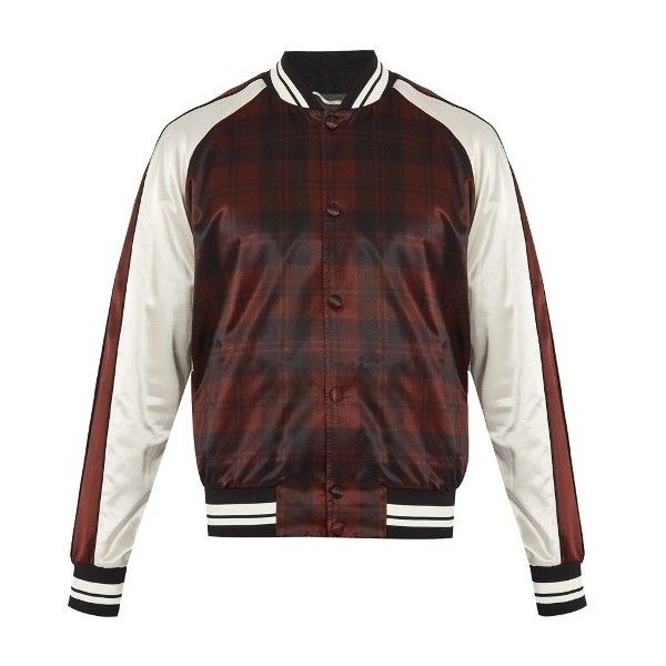 Valentino Checked satin bomber jacket ($628) ❤ liked on Polyvore featuring men's fashion, men's clothing, men's outerwear, men's jackets, burgundy multi, mens slim fit bomber jacket, mens camo jacket, mens camo bomber jacket, mens camouflage bomber jacket and mens slim jacket