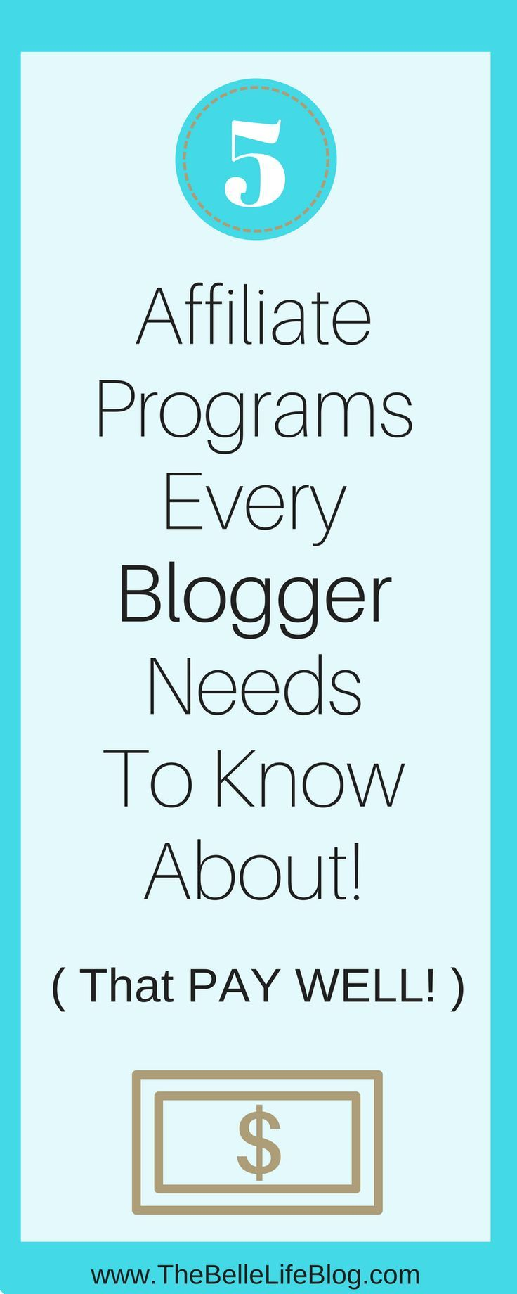 Want to monetize your blog even as a brand new blogger? Here are 5 affiliate marketing programs you should join to grow and monetize your blog! Blogging tips, marketing tips, grow your blog, make money online