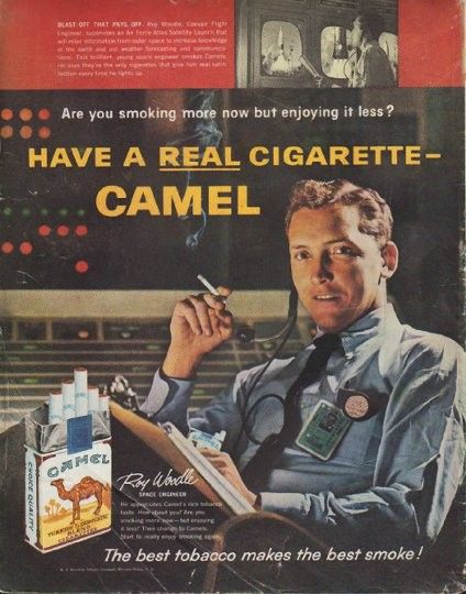"""Description: 1961 CAMEL CIGARETTES vintage magazine advertisement """"Blast-Off That Pays Off"""" -- Blast-Off That Pays Off. Roy Woodle, Convair Flight Engineer, supervises an Air Force Atlas Satellite Launch that will relay information from outer space to increase knowledge of the earth and aid weather forecasting and communications ... Are you smoking more now but enjoying it less? Have a real cigarette -- Camel ... The best tobacco makes the best smoke! -- Size: The dimensions of the full- ..."""