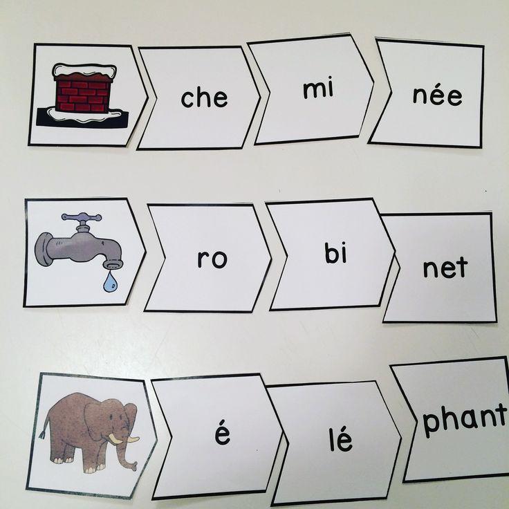 Casse-tête sur les mots à trois syllabes. Jeu très amusant dans les centres de littératie.
