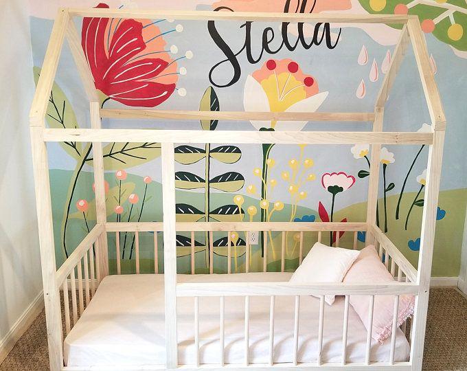 Montessori Floor Bed With Rails Twin Full Floor Bed Hardwood