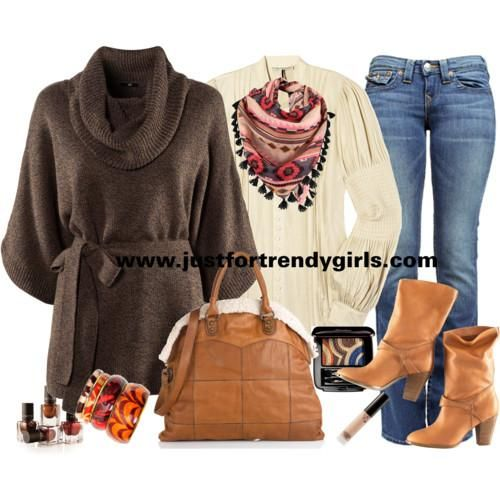 Bohemian winter style for women | justfortrendygirls except for the brown sweater. I hate cowl necks and I'm not fond of the belt either
