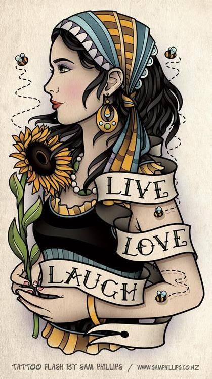 (via Sun Flower Bumble Bee Gypsy Tattoo - Sam Phillips - Artist . Illustrator . Graphic Designer)