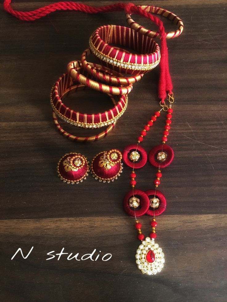 Exclusive silk thread jewellery from Qatar by https://m.facebook.com/Nstudio247
