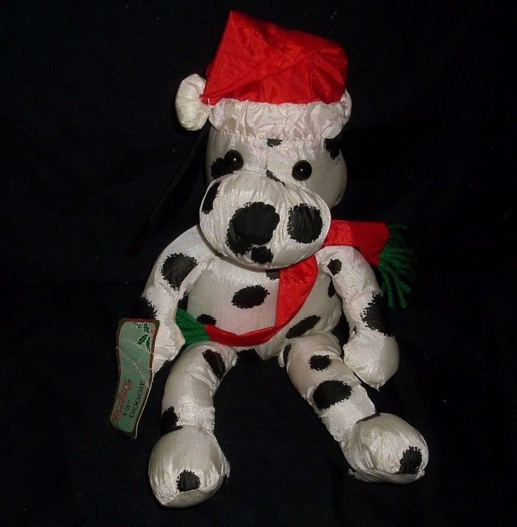 "13"" VINTAGE STERLING CHRISTMAS DALMATIAN NYLON DOG STUFFED ANIMAL PLUSH TOY TAG"