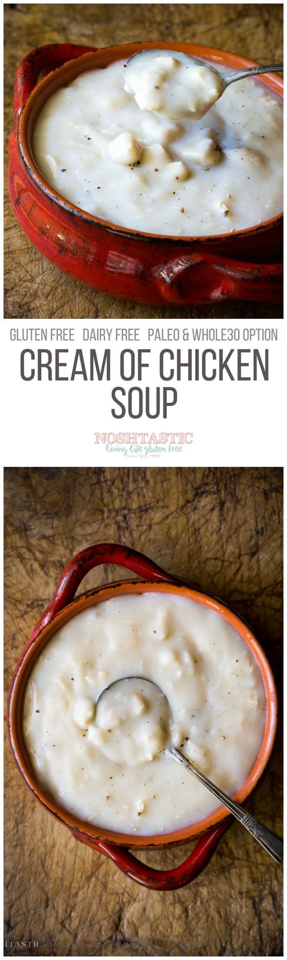 An easy Homemade Gluten Free Cream of Chicken Soup, but without all the additives! Can easily be made Paleo and Whole30