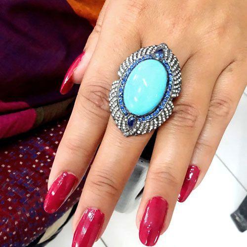 Big Turquoise Blue Sapphire Gemstone Ring 925 Silver Pave Diamond Jewelry Gifts #Handmade