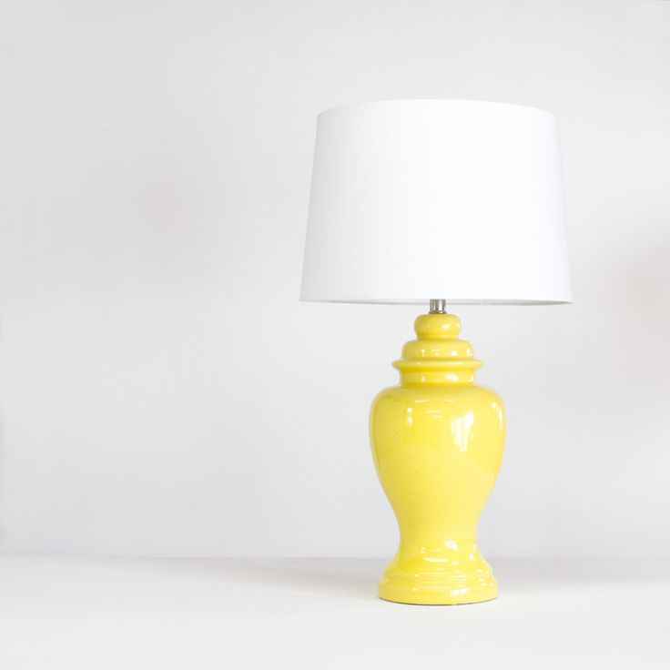 Vintage Yellow Table Lamp - Ginger Jar Lamp - New White Shade - Hollywood Regency Style Lighting by KOLORIZE on Etsy https://www.etsy.com/listing/212498981/vintage-yellow-table-lamp-ginger-jar