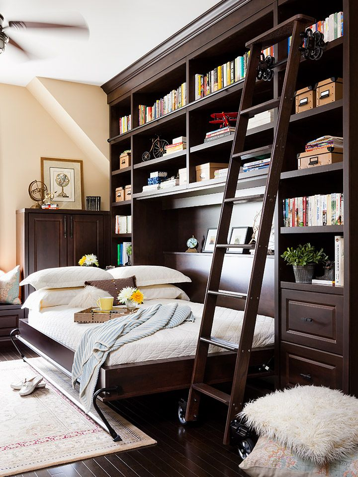Add a beautiful rolling ladder to access your books on the top shelves of a custom bookcase.  On the wall bed, our patented tapered steel legs help to prevent stubbed toes. When the bed isn't in use the legs rotate inward to hold the bedding in place.