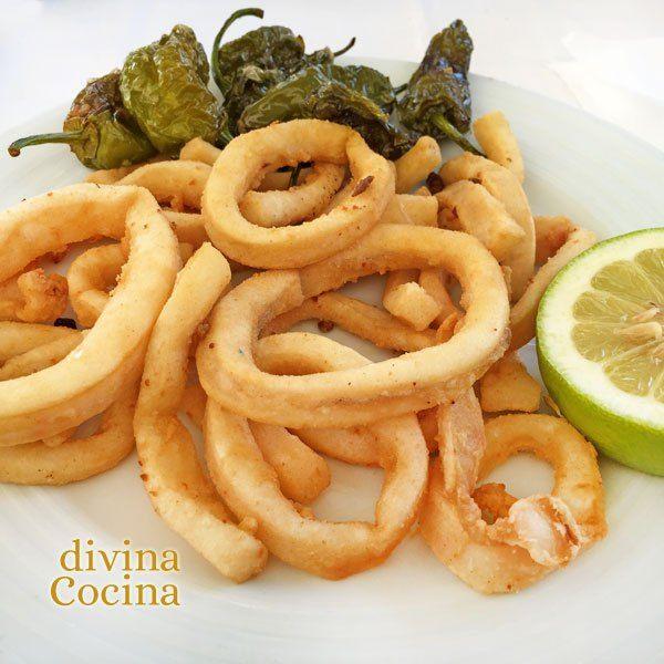 Si sigues los consejos de esta receta de calamares fritos te quedarán siempre a punto, tiernos, doraditos y crujientes. Divina Cocina.