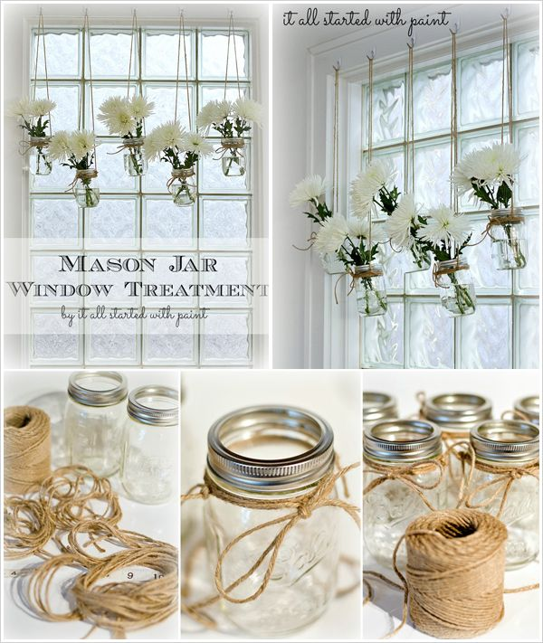 Another use for mason jars --- window decorations!