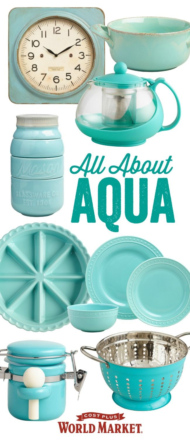 It's your world. Paint it aqua with accent furniture, decor, dinnerware and art in this cooling and calming hue. Bring home the look!