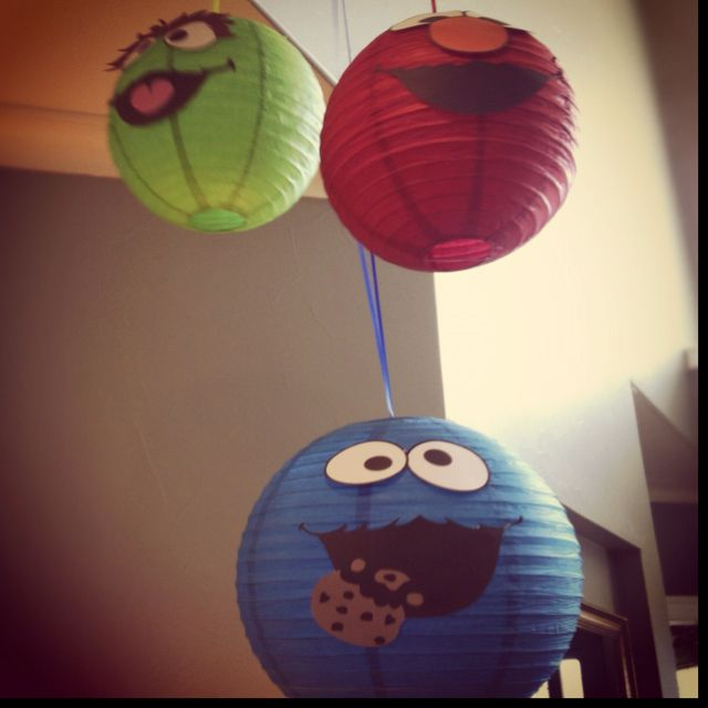 DIY paper lantern sesame street decorations (: