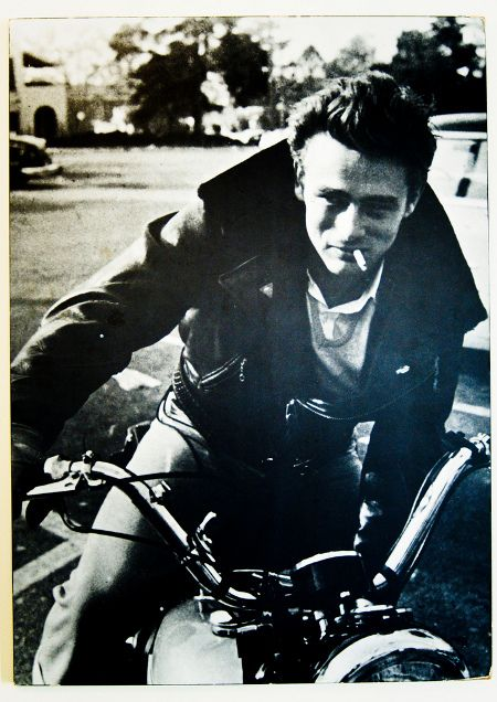 James Dean, actor. Later, wanting to emulate Marlon Brando, Dean bought a Triumph TR5 Trophy, the last bike he rode before he died.