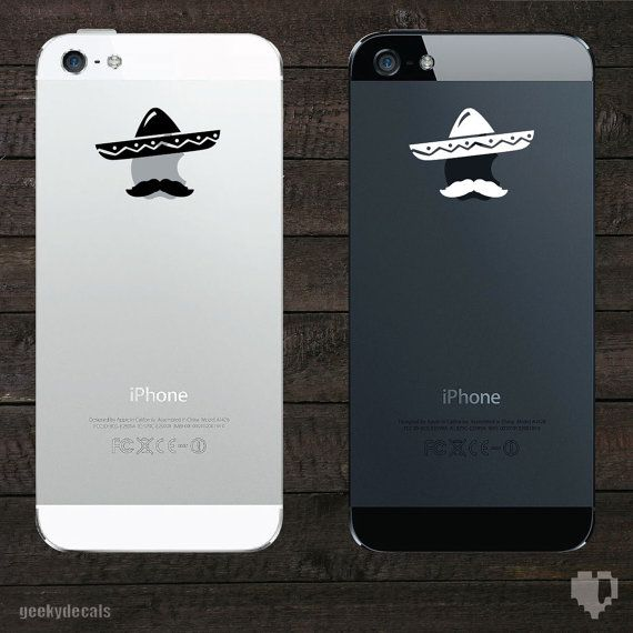 Sombrero and Mustache iPhone Decal / iPhone Sticker on Etsy, €2,30