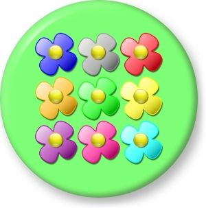 Game marbles flowers vector - Button Badge - Brooch - Gift