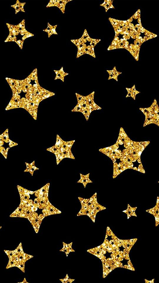 Black and gold stars Iphone wallpapers Pinterest