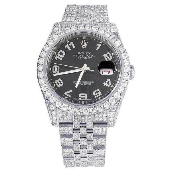 Pre-owned Rolex Datejust 116234 Stainless Steel Arabic Dial Custom... ($13,649) ❤ liked on Polyvore featuring jewelry, watches, diamond wrist watch, pre owned watches, diamond jewelry, rolex jewelry and rolex watches