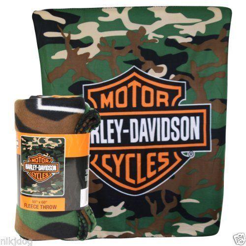 Harley Davidson Fleece Throw Blanket Camouflage 50 x 60