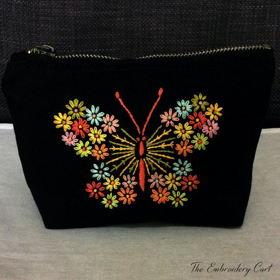 Butterfly purse Hand Embroidery Butterfly by TheEmbroideryCart