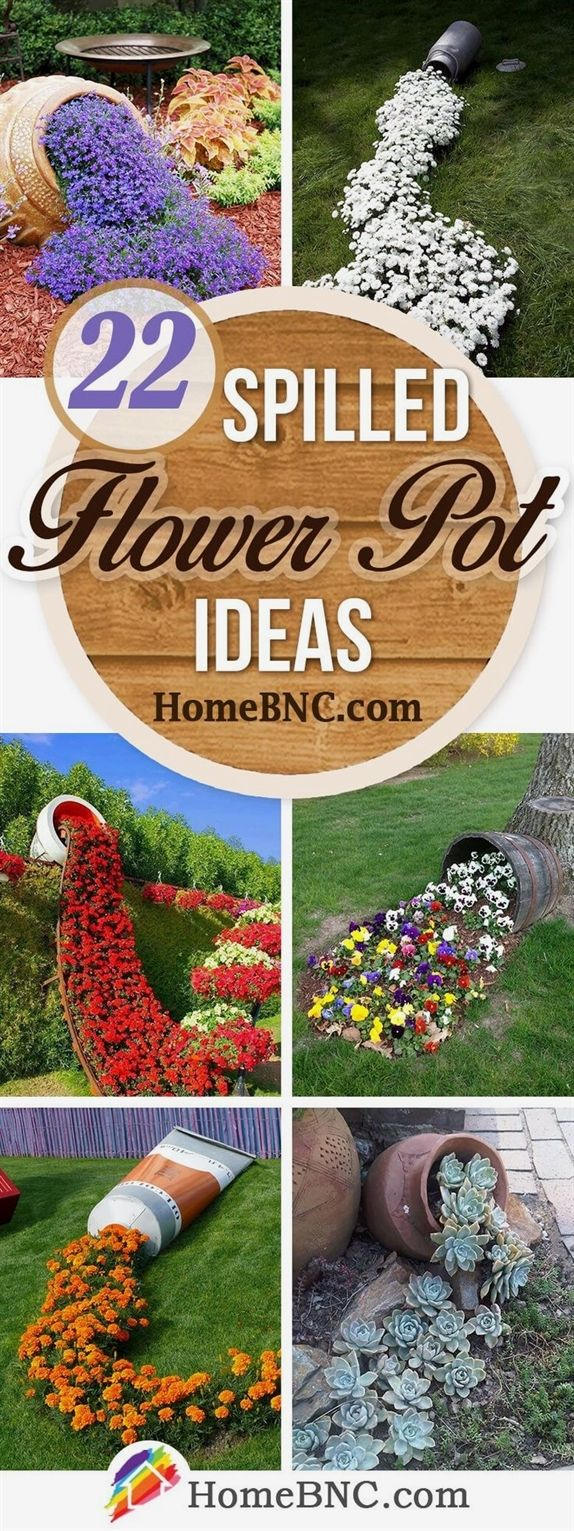 Spilled flower pot ideas are a whimsical and humorous trend in garden design. Discover the best designs and upgrade your outdoor space!  #FlowerGardenJennifer Thoms