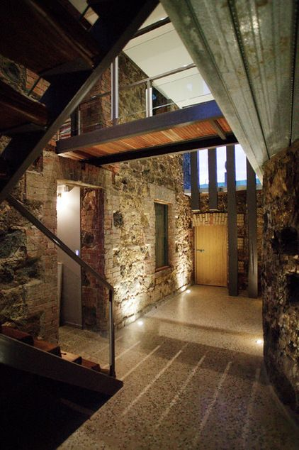 Houzz Tour: Modern Retreat Emerges From a 19th-Century Ruin: A contemporary country home builds on the remains of an abandoned 1860s homestead. #RusticEntry by Centrum Architects