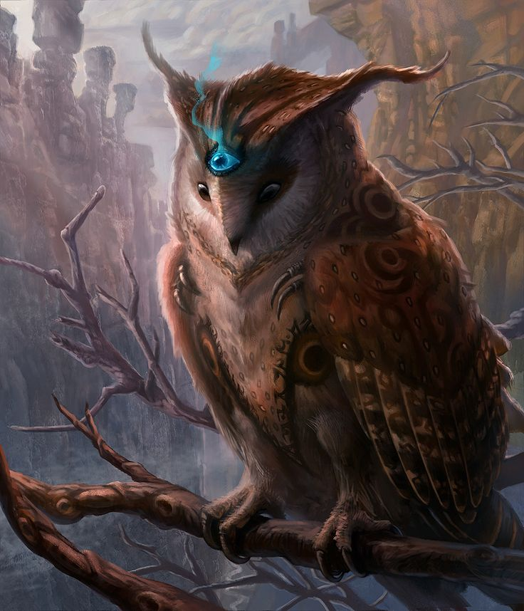 Mystical Owl by jubjubjedi for Chains of Durandal third eye cleric priest sorcerer wizard warlock familiar monster beast creature animal | Create your own roleplaying game material w/ RPG Bard: www.rpgbard.com | Writing inspiration for Dungeons and Dragons DND D&D Pathfinder PFRPG Warhammer 40k Star Wars Shadowrun Call of Cthulhu Lord of the Rings LoTR + d20 fantasy science fiction scifi horror design | Not Trusty Sword art: click artwork for source