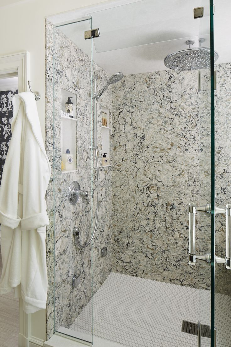 Cambria Praa Sands shower wall cladding. Better view of larger pattern.