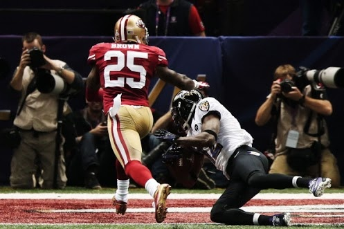 """Super Bowl 47   """"You're not tackling me."""" --What we imagine Jacoby Jones was probably thinking while scoring. 21-3 Ravens."""