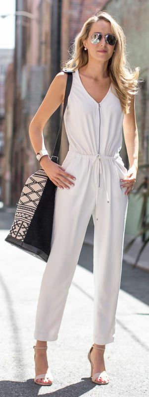 white jumpsuit, nude heeled sandals, embroidered tote weekender + mirrored sunglasses {trina turk, dune london, stela 9, express}