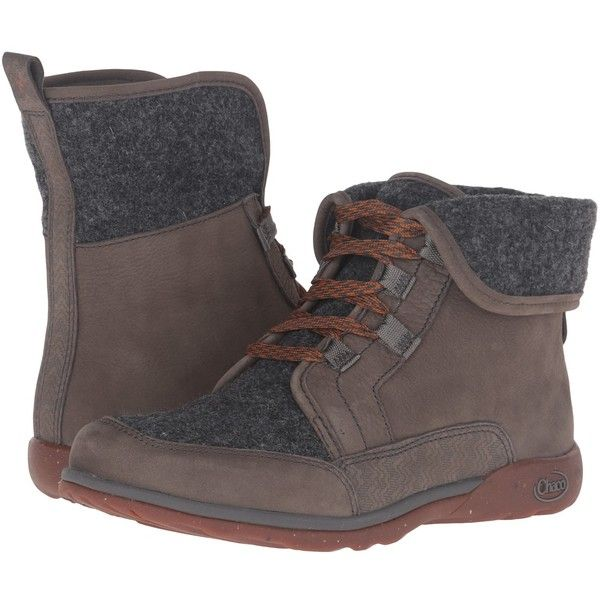 Chaco Barbary (Nickel Gray) Women's Lace-up Boots (9.780 RUB) ❤ liked on Polyvore featuring shoes, boots, gray lace up boots, fold over boots, water proof boots, chaco boots and fold-over boots
