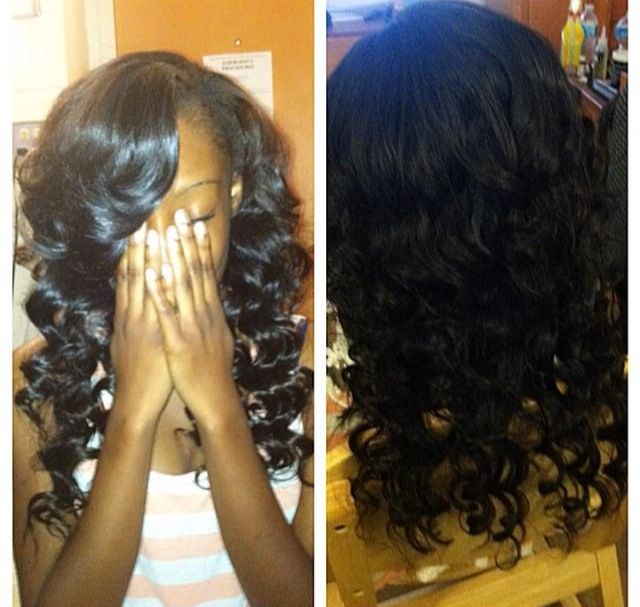 sew in that was curled by the curly wand sew in
