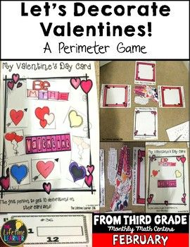 """Perimeter of Rectangles Game February Math Center  This Valentine's Day math game is used to help students practice finding the perimeter of rectangles during the Valentine's Day """"season""""."""