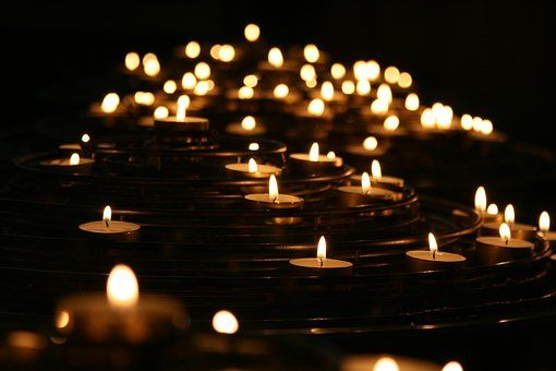 Candlelights, Candles, Dark, Flames