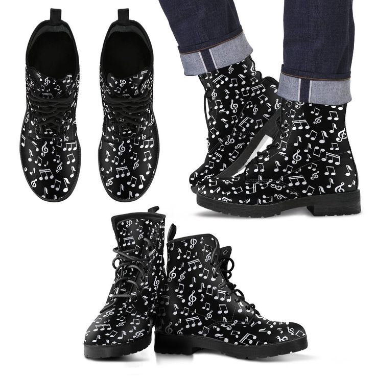 Just launched! Music Notes Design Shoes Mens Black Leather Boots http://oompah.shop/products/music-notes-design-mens-black-leather-boots