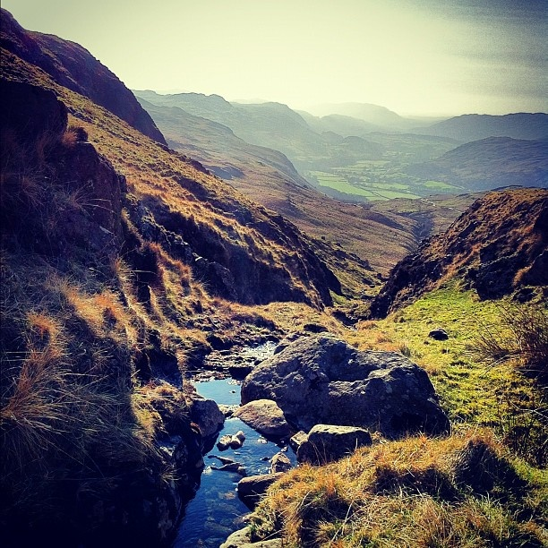 view down Wrynose Pass