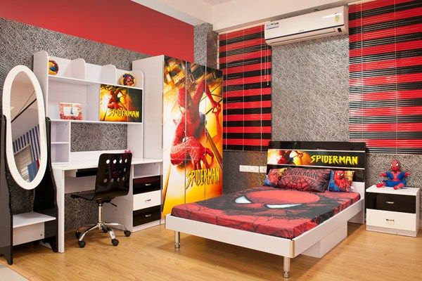 15 Kids Bedroom Design with Spiderman Themes #childrens #bedroom #storage http://bedroom.remmont.com/15-kids-bedroom-design-with-spiderman-themes-childrens-bedroom-storage/  #spiderman bedroom # Spiderman bedroom is a favorite kids as hero this one makes them happy. Kids often dream to become their favorite characters, especially if your child is a boy. They saw from movie or comic, and without them knowing it would affect their development, so we give you spiderman bedroom design to make…