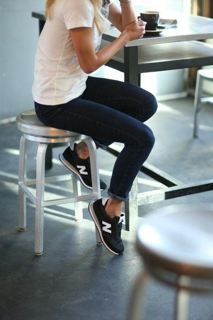 comment porter les sneakers femme nike, basket basse femme de couleur noire