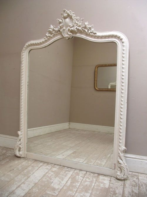 Circa 1900 Large French Antique Rococo Style Mirror Painted In Cream.  Featuring A Beautiful Crest At The Top With Shells, Flowers, Leaves And  Scrolls With ...