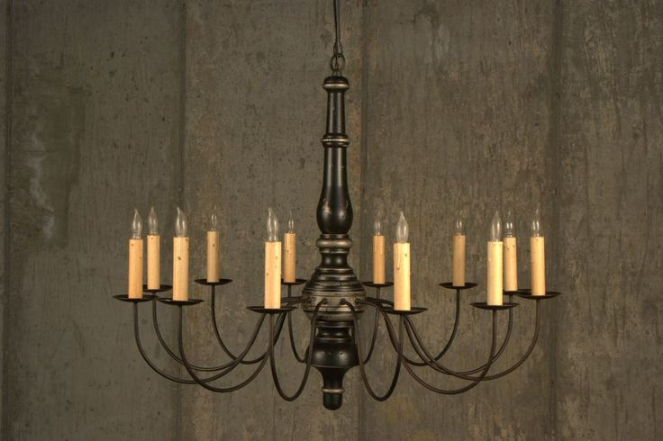 Large Single Mulberry Wood Chandelier Pictured In Black