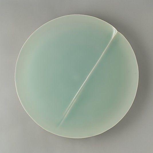 Fukami Sueharu (Japanese, born 1947)-Ceramics Porcelain with celadon glaze-2004 H. 1 in. (2.5 cm); Diam. 23 in. (58.4 cm)