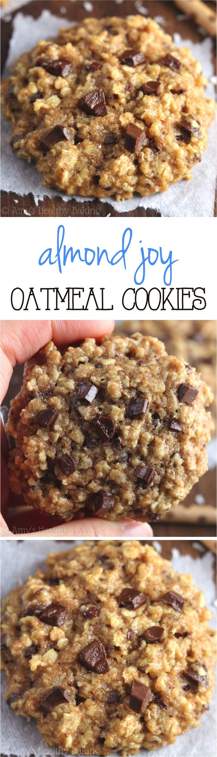 Clean-Eating Almond Joy Oatmeal Cookies -- these skinny cookies don't taste healthy at all!