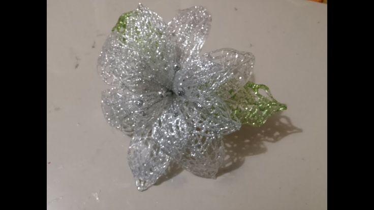 flor navideña con diamantina, fácil, económico y decorativo - YouTube