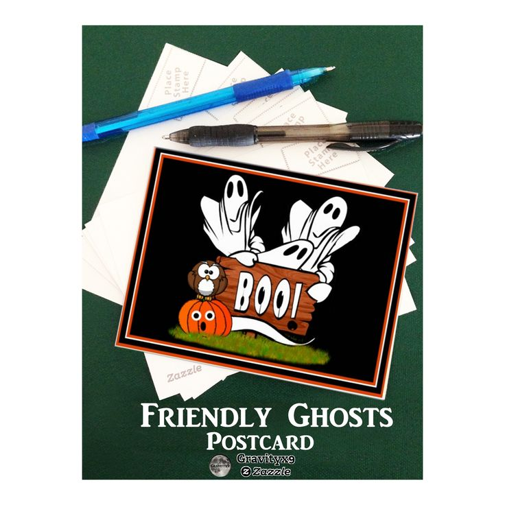 Friendly Ghosts and Pals Postcard by #FallSeasonsBest -  Send a quick note this Halloween with this custom postcard. Add your text or a photo to personalize. Add party information and it can be used as a Halloween Party Invitation, too!