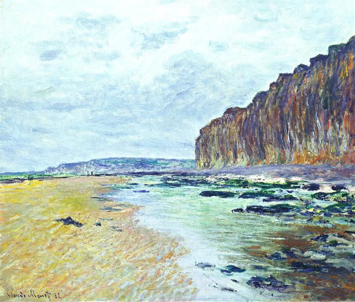 """Low Tide at Varengeville 02"" ・ by Claude Monet ・ Completion Date: 1882 ・ Style: Impressionism ・ Genre: landscape"