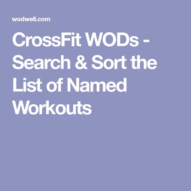 CrossFit WODs - Search & Sort the List of Named Workouts